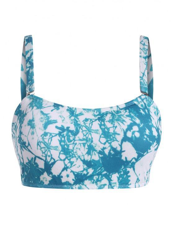 outfit ZAFUL Plus Size Tie Dye Ribbed Bikini Top - BLUE XL