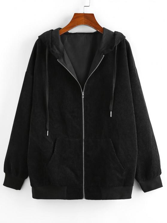 fashion ZAFUL Ribbed Pockets Hooded Jacket - BLACK L