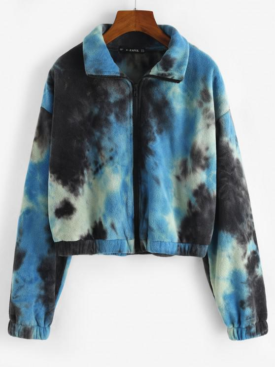 shops Zip Up Tie Dye Fleece Jacket - BLUE M
