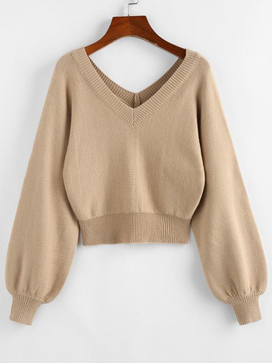 ZAFUL Raglan Sleeve Double V Neck Short Sweater - ضوء الكاكي S