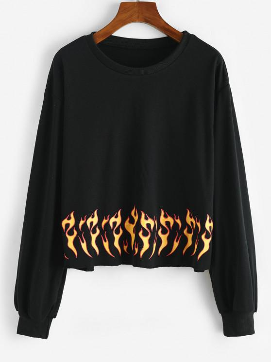 Flame Print Raw Hem Sweatshirt - أسود S