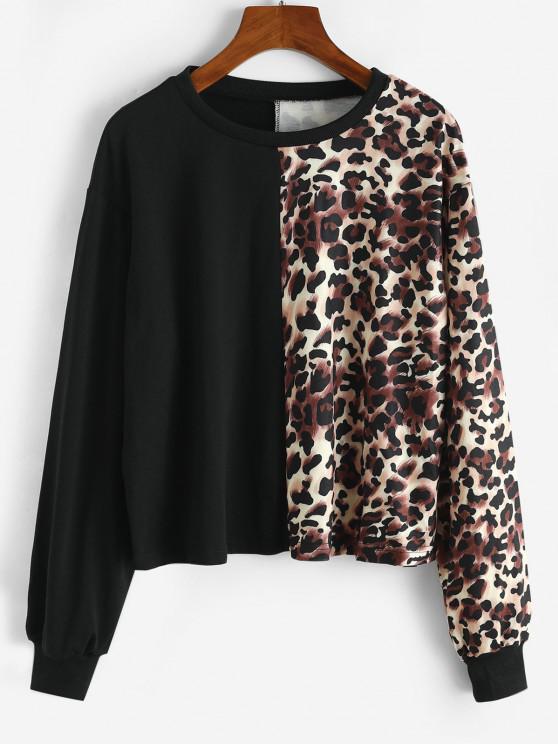 hot Crew Neck Leopard Sweatshirt - BLACK XL