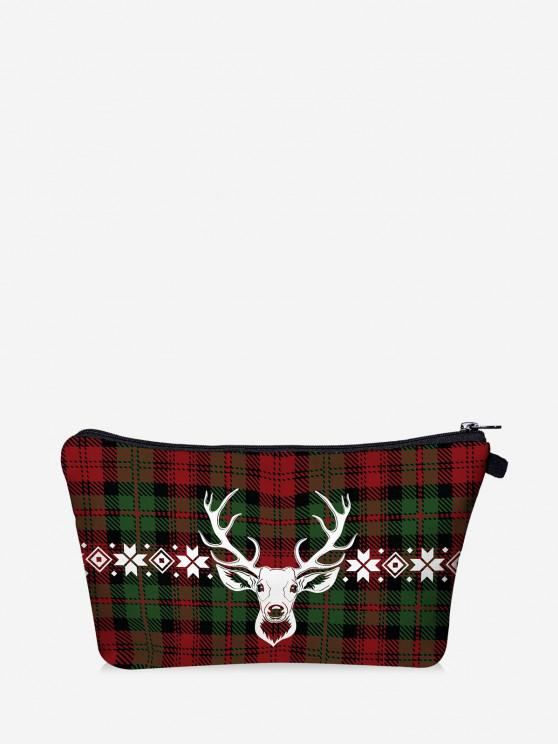 Christmas Plaid Elk Print Makeup Bag - Dark Forest Green