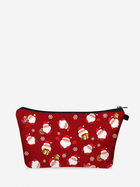 Christmas Santa Printing Makeup Bag - أحمر
