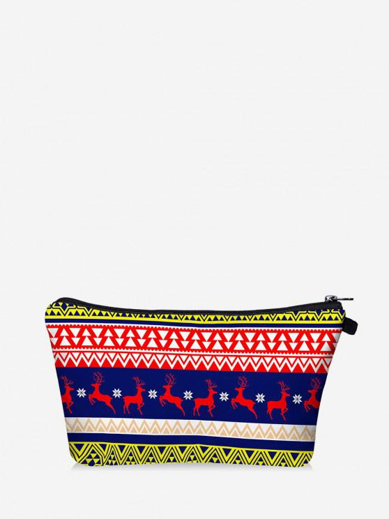 Christmas Elk Geo Print Makeup Bag - البحريه الزرقاء