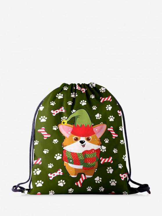 affordable Christmas Cartoon Corgi Print Cinch Bag - JUNGLE GREEN