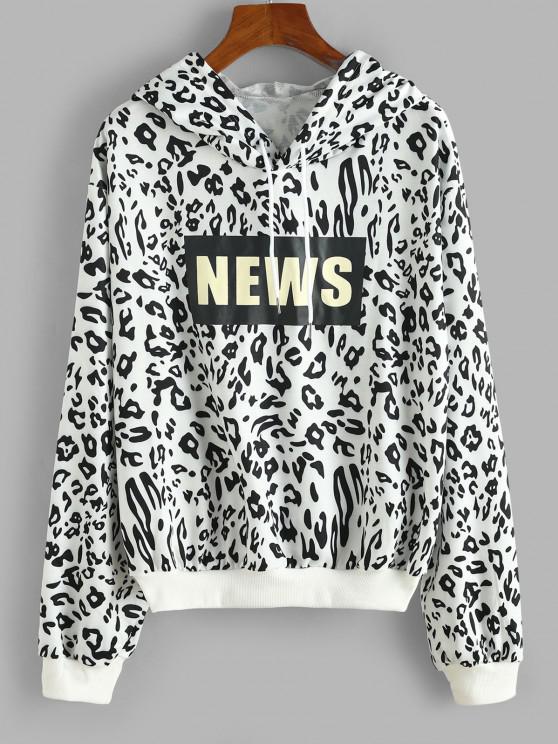 sale Leopard News Graphic Hoodie - BLACK S