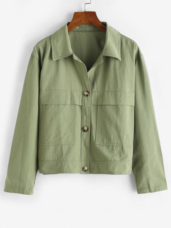 Front Pocket Shacket - اخضر فاتح S
