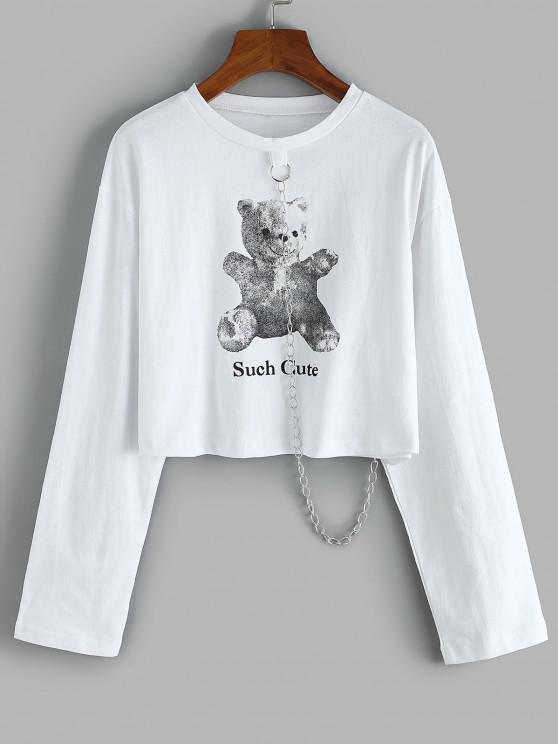 hot Cropped Such Cute Bear Chain Sweatshirt - WHITE S