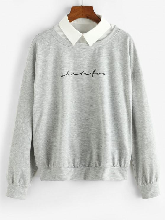 unique ZAFUL Shirt Collar Graphic Front Combo Sweatshirt - LIGHT GRAY S