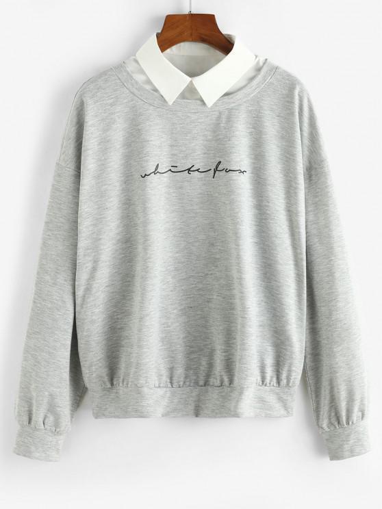 unique ZAFUL Shirt Collar Graphic Front Combo Sweatshirt - LIGHT GRAY XL