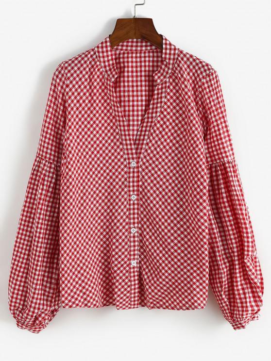 Button Up Gingham Lantern Sleeve Shirt - أحمر S