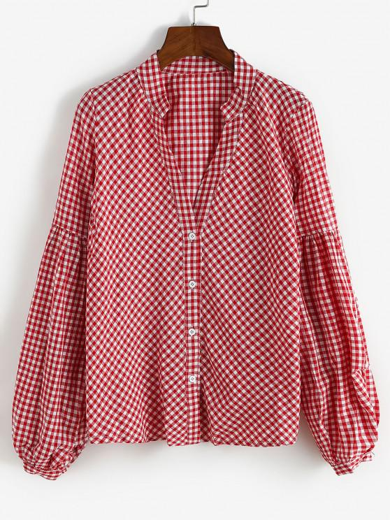 Button Up Gingham Lantern Sleeve Shirt - أحمر L