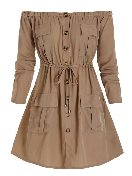 hot Plus Size Off Shoulder Drawstring Cargo Shirt Dress - CAMEL BROWN L