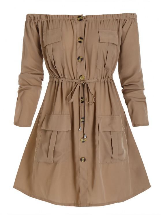 shops Plus Size Off Shoulder Drawstring Cargo Shirt Dress - CAMEL BROWN 4X