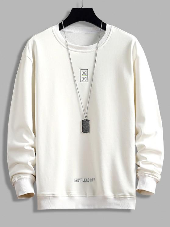 Letter Print Crew Neck Graphic Sweatshirt - أبيض XS