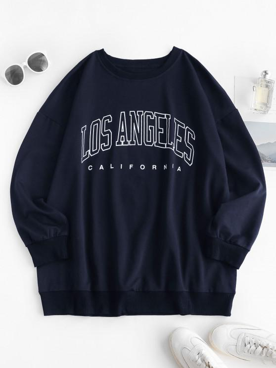 latest Boyfriend LOS ANGELES Graphic Sweatshirt - DEEP BLUE XL