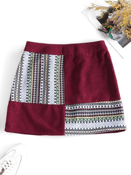 trendy ZAFUL Corduroy Tribal Print Mini Skirt - FIREBRICK M