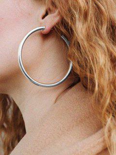 Stylish Round Ring Metal Street Hoop Earrings - Silver