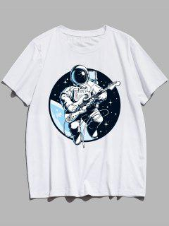 Playing Guitar Astronaut Print Graphic Tee - White Xs