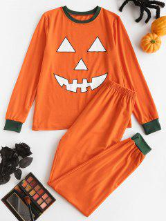 Halloween Funny Pumpkin Face Two Piece Pants Set - Dark Orange L