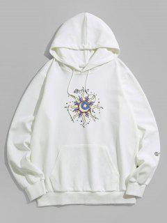 ZAFUL Durchsichtiges Sonnen Mond Und Stern Muster Hoodie - Weiß L
