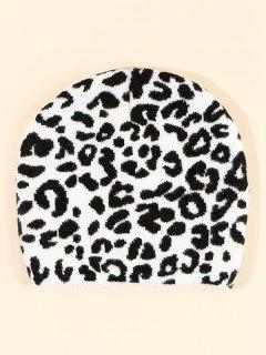 Leopard Pattern Knitted Hat - White