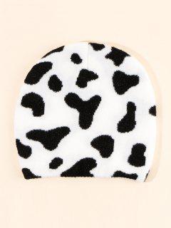 Cow Pattern Knitting Hat - Milk White