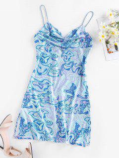 ZAFUL  Liquid Tripp Print Cowl Neck Mini Dress - Light Blue M