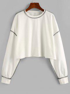 ZAFUL Contrast Stitching Crop Sweatshirt - White M