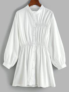 Smocked Waist Long Sleeve Shirt Dress - White S
