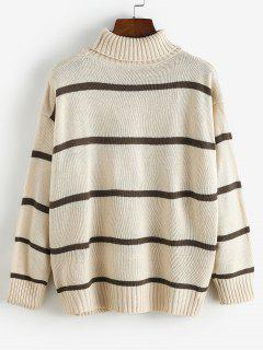 Striped Drop Shoulder Turtleneck Sweater - Light Coffee