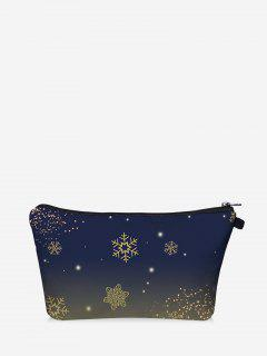 Christmas Snowflake Print Makeup Bag - Dark Slate Blue