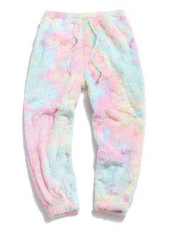 ZAFUL Tie Dye Fluffy Beam Feet Pants - Light Pink L