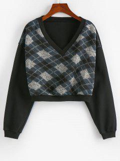 ZAFUL  V Neck Argyle Cropped Sweatshirt - Black M