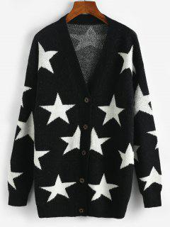 Star Drop Shoulder Button Up Cardigan - Black