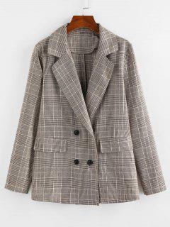 ZAFUL Lapel Glen Check Double Breasted Blazer - Khaki M