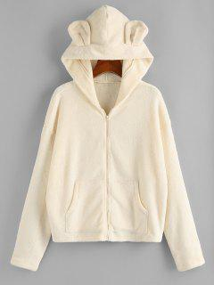 ZAFUL Plush Bear Ear Hooded Drop Shoulder Coat - Beige S