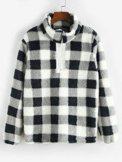 Sweat-shirt à Carreaux à 1 / 4 Zip En Peluche - Noir Xl