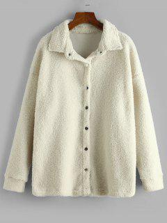 Solid Snap Button Teddy Coat - Warm White M