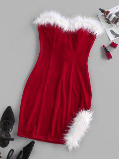 ZAFUL Velour Back Lace Up Strapless Dress - Red M