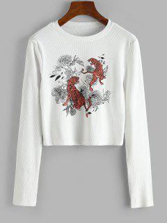 Rib-knit Tiger Floral Print Top - White L