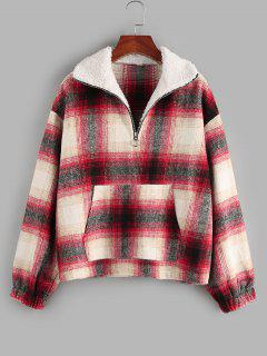 ZAFUL Tartan Half Zip  Drop Shoulder Pullover Jacket - Red M