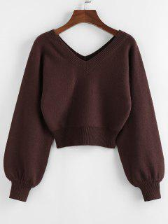 ZAFUL Raglan Sleeve Double V Neck Short Sweater - Deep Coffee M