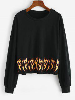 Flame Print Raw Hem Sweatshirt - Black L