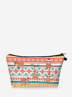 Christmas Animal Snowflake Print Makeup Bag - Chestnut Red