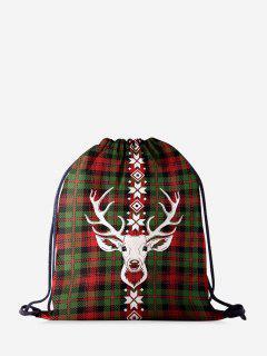 Weihnachten Karierte Elchdruck Weihnachtszugschnur Tasche - Dunkles Waldgrün