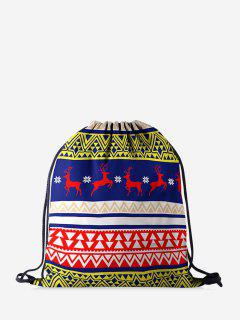 Christmas Elk Geo Print Cinch Bag - Navy Blue