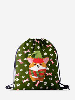 Christmas Cartoon Corgi Print Cinch Bag - Jungle Green
