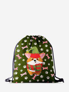 Weihnachtskarikatur-Corgi-Druck-Cinch-Tasche - Dschungel Grün